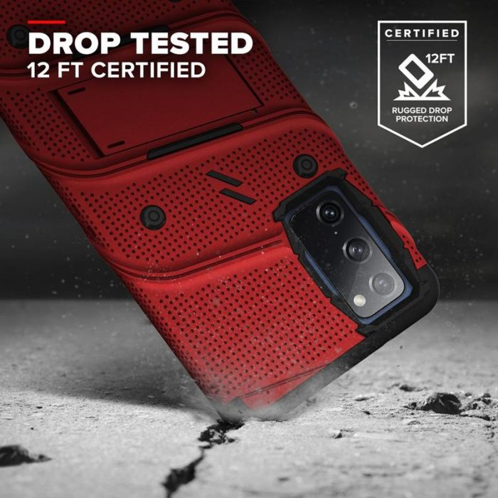 s20 fe - zizo bolt cover - samsung galaxy s20 fe armored case with 9h glass for the screen + stand & belt clip (red / black) - 2 - krytarna.cz