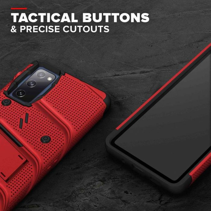 s20 fe - zizo bolt cover - samsung galaxy s20 fe armored case with 9h glass for the screen + stand & belt clip (red / black) - 7 - krytarna.cz