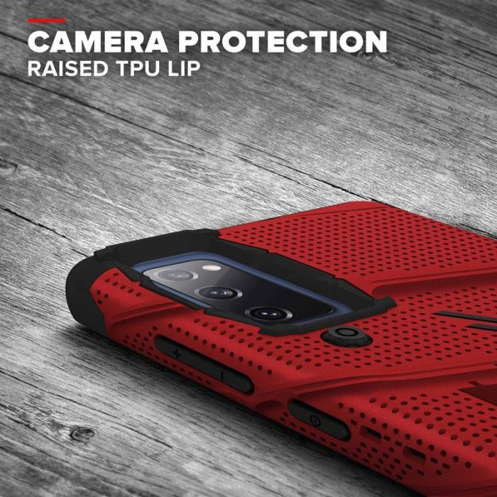 s20 fe - zizo bolt cover - samsung galaxy s20 fe armored case with 9h glass for the screen + stand & belt clip (red / black) - 8 - krytarna.cz