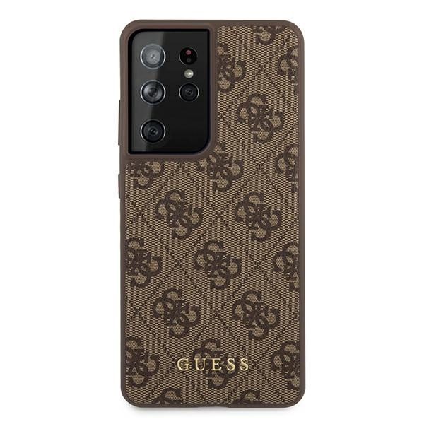 s21 ultra - guess guhcs21lg4gfbr samsung galaxy s21 ultra brown hard case 4g metal gold logo - 3 - krytarna.cz