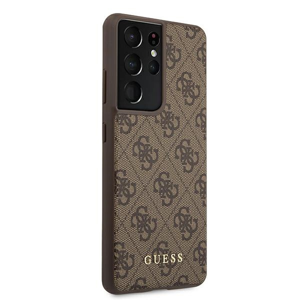 s21 ultra - guess guhcs21lg4gfbr samsung galaxy s21 ultra brown hard case 4g metal gold logo - 4 - krytarna.cz