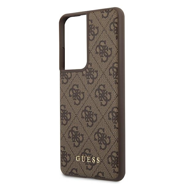 s21 ultra - guess guhcs21lg4gfbr samsung galaxy s21 ultra brown hard case 4g metal gold logo - 6 - krytarna.cz