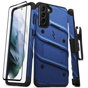 S21 Plus - Zizo Bolt Cover - Samsung Galaxy S21+ Plus 5G armored case with 9H glass for the screen + stand & belt clip (blue / black) - 1 - krytarna.cz