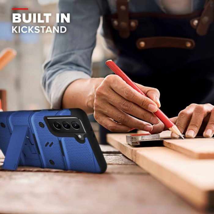 s21 plus - zizo bolt cover - samsung galaxy s21+ plus 5g armored case with 9h glass for the screen + stand & belt clip (blue / black) - 6 - krytarna.cz