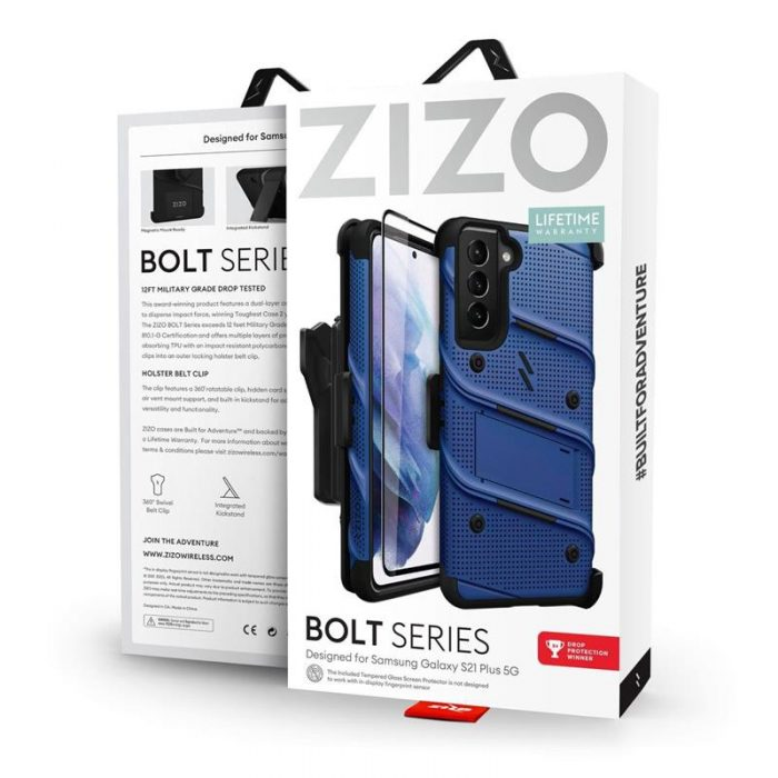s21 plus - zizo bolt cover - samsung galaxy s21+ plus 5g armored case with 9h glass for the screen + stand & belt clip (blue / black) - 9 - krytarna.cz