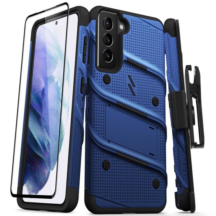 s21 - zizo bolt cover - samsung galaxy s21 5g armored case with 9h glass for the screen + stand & belt clip (blue / black) - 1 - krytarna.cz