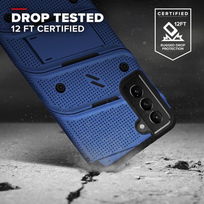 s21 - zizo bolt cover - samsung galaxy s21 5g armored case with 9h glass for the screen + stand & belt clip (blue / black) - 2 - krytarna.cz