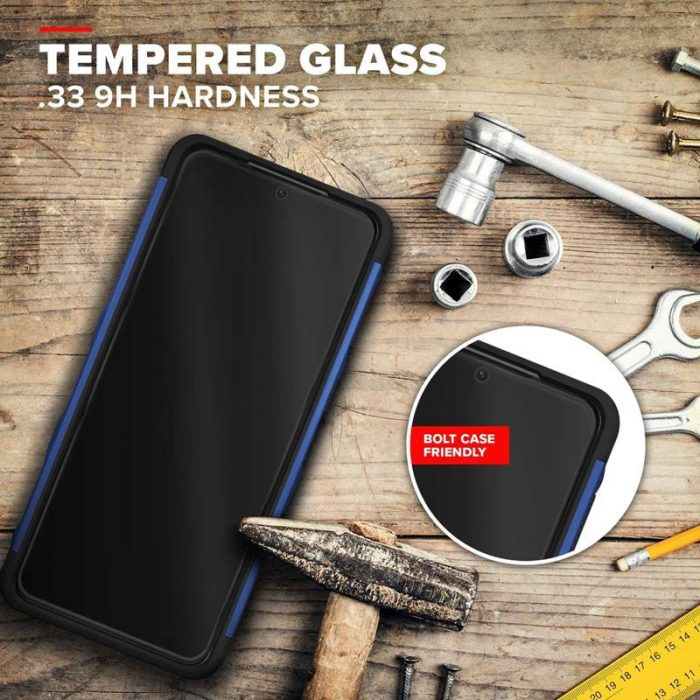 s21 - zizo bolt cover - samsung galaxy s21 5g armored case with 9h glass for the screen + stand & belt clip (blue / black) - 3 - krytarna.cz