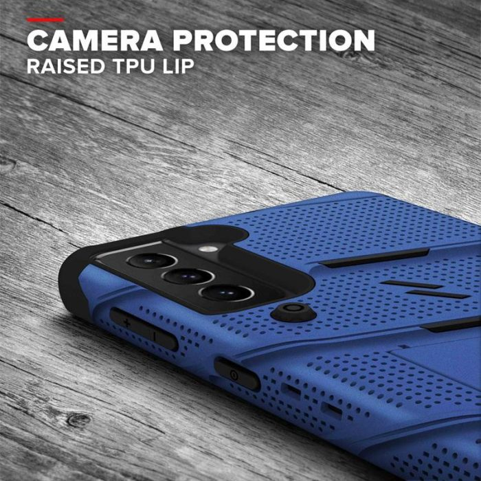 s21 - zizo bolt cover - samsung galaxy s21 5g armored case with 9h glass for the screen + stand & belt clip (blue / black) - 7 - krytarna.cz