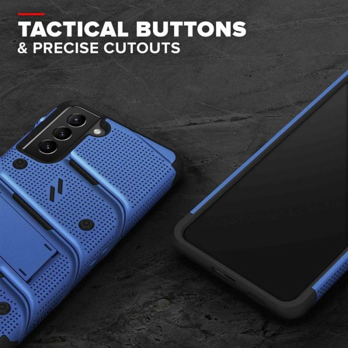 s21 - zizo bolt cover - samsung galaxy s21 5g armored case with 9h glass for the screen + stand & belt clip (blue / black) - 8 - krytarna.cz