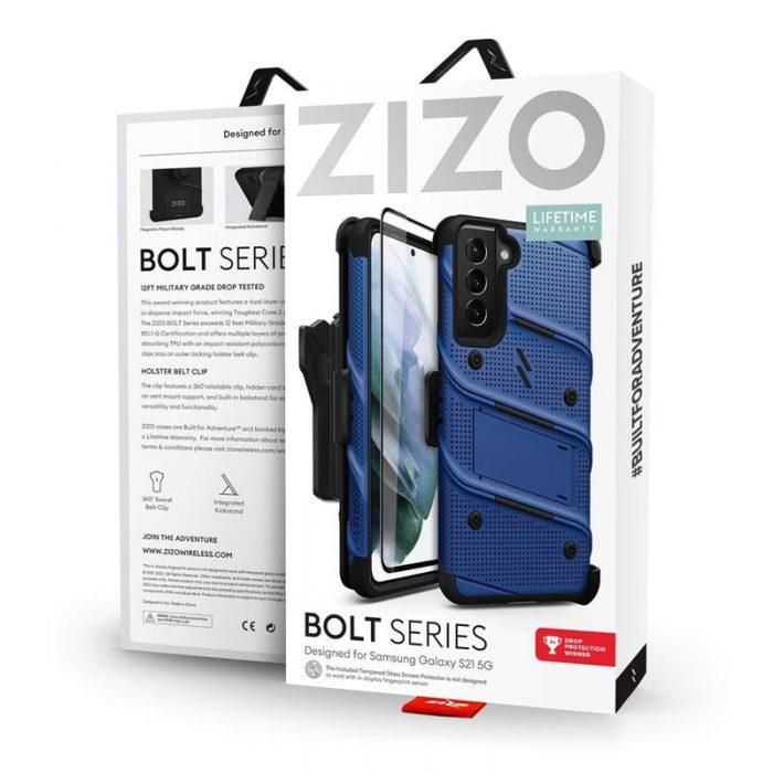 s21 - zizo bolt cover - samsung galaxy s21 5g armored case with 9h glass for the screen + stand & belt clip (blue / black) - 9 - krytarna.cz