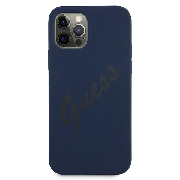 iphone 12 pro max - guess guhcp12llsvsbl apple iphone 12 pro max blue hardcase script vintage - 3 - krytarna.cz