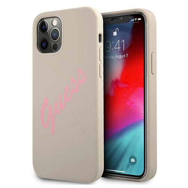 iphone 12 pro max - guess guhcp12llsvsgp apple iphone 12 pro max grey pink hardcase silicone vintage - 1 - krytarna.cz