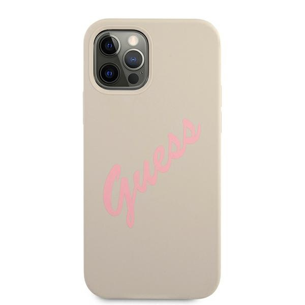 iphone 12 pro max - guess guhcp12llsvsgp apple iphone 12 pro max grey pink hardcase silicone vintage - 3 - krytarna.cz