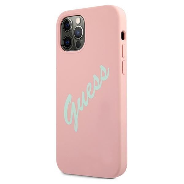 iphone 12 pro max - guess guhcp12llsvspg apple iphone 12 pro max green pink hardcase silicone vintage - 2 - krytarna.cz