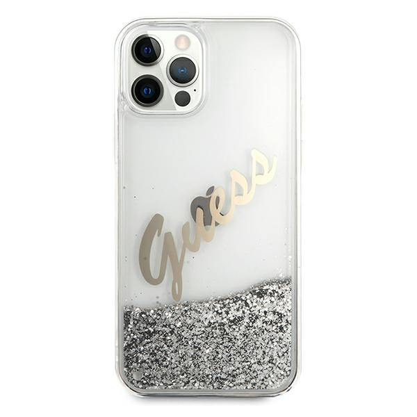 iphone 12 pro - guess guhcp12mglvssi apple iphone 12/12 pro silver hardcase glitter vintage script - 3 - krytarna.cz