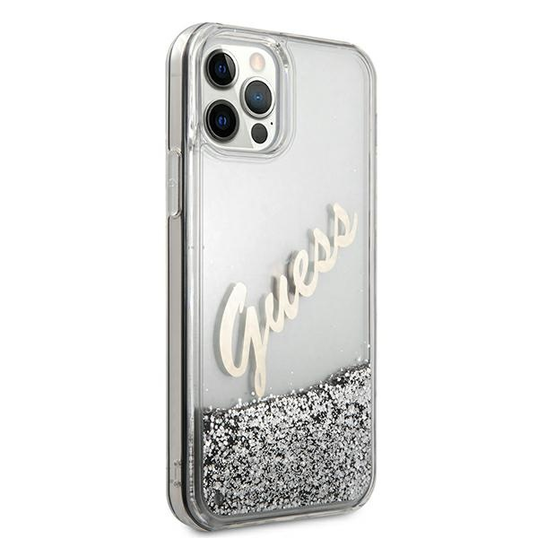 iphone 12 pro - guess guhcp12mglvssi apple iphone 12/12 pro silver hardcase glitter vintage script - 4 - krytarna.cz