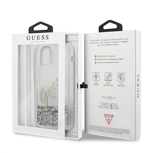 iphone 12 pro - guess guhcp12mglvssi apple iphone 12/12 pro silver hardcase glitter vintage script - 9 - krytarna.cz