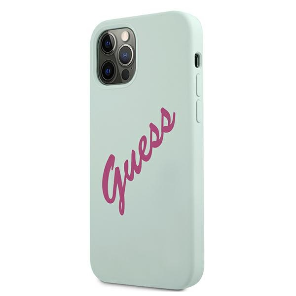 iphone 12 pro - guess guhcp12mlsvsbf apple iphone 12/12 pro blue fuschia hardcase silicone vintage - 2 - krytarna.cz