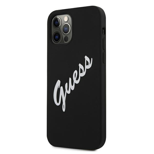 iphone 12 pro - guess guhcp12mlsvsbw apple iphone 12/12 pro black white hardcase silicone vintage - 2 - krytarna.cz