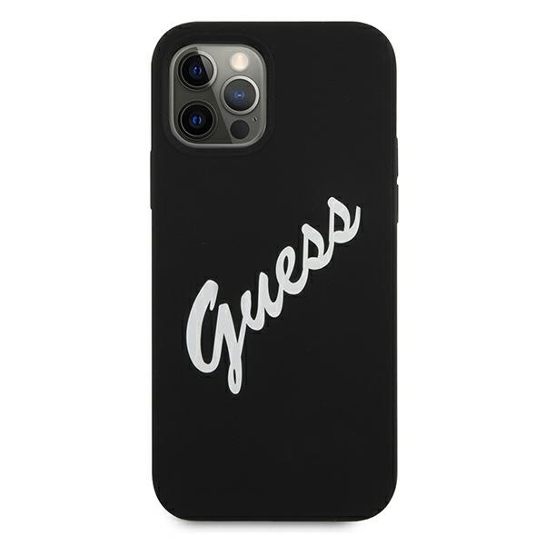 iphone 12 pro - guess guhcp12mlsvsbw apple iphone 12/12 pro black white hardcase silicone vintage - 3 - krytarna.cz