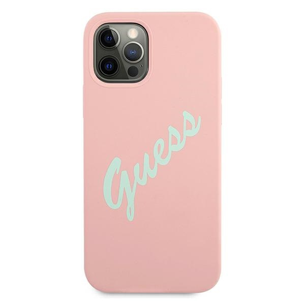 iphone 12 pro - guess guhcp12mlsvspg apple iphone 12/12 pro green pink hardcase silicone vintage - 3 - krytarna.cz
