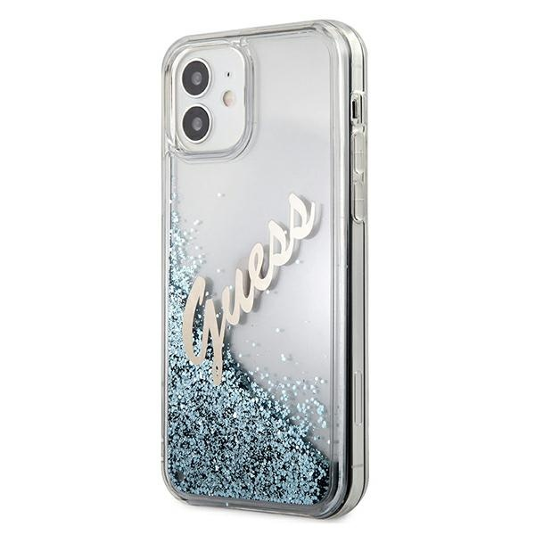 iphone 12 mini - guess guhcp12sglvsbl apple iphone 12 mini blue hardcase glitter vintage script - 2 - krytarna.cz