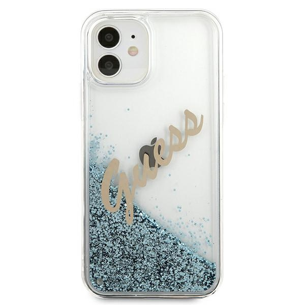 iphone 12 mini - guess guhcp12sglvsbl apple iphone 12 mini blue hardcase glitter vintage script - 3 - krytarna.cz