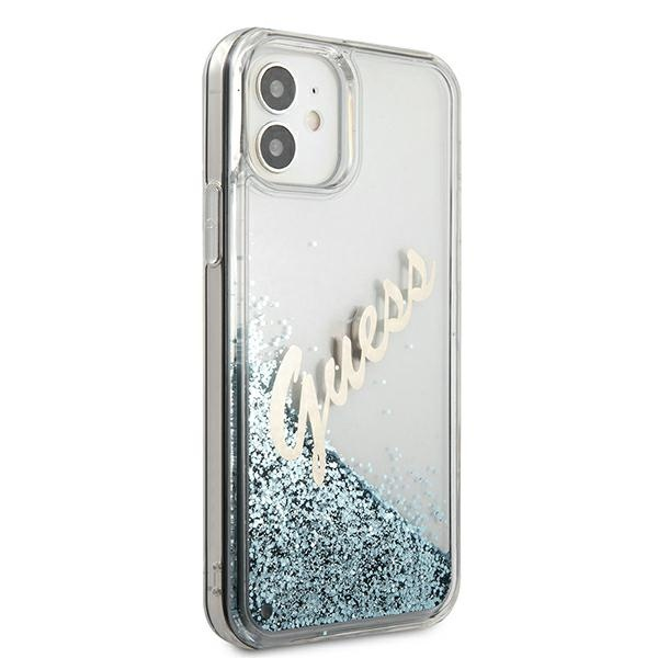 iphone 12 mini - guess guhcp12sglvsbl apple iphone 12 mini blue hardcase glitter vintage script - 4 - krytarna.cz