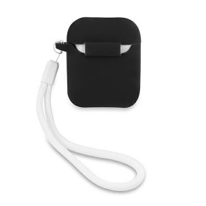 AirPods - Guess GUACA2LSVSBW Apple AirPods cover black white Silicone Vintage - 2 - krytarna.cz