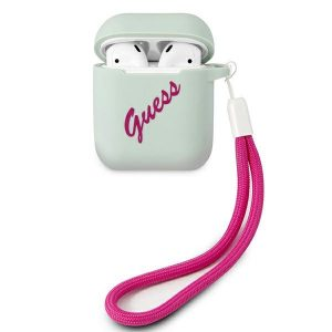 AirPods - Guess GUACA2LSVSBF Apple AirPods cover blue fuschia Silicone Vintage - 1 - krytarna.cz