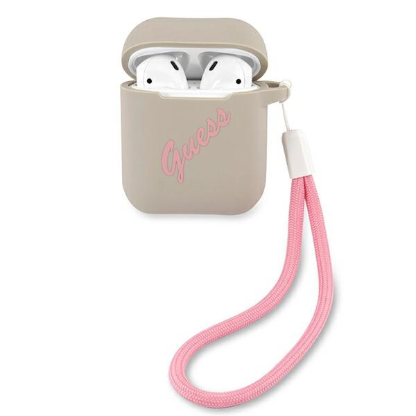 airpods - guess guaca2lsvsgp apple airpods cover grey pink silicone vintage - 1 - krytarna.cz