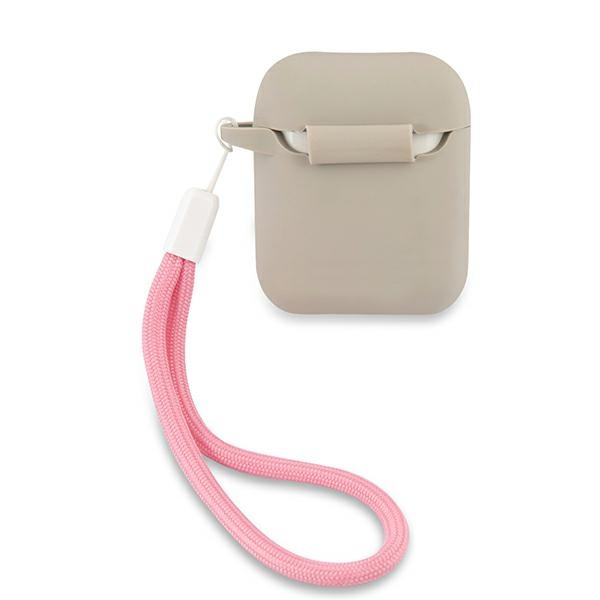 airpods - guess guaca2lsvsgp apple airpods cover grey pink silicone vintage - 2 - krytarna.cz