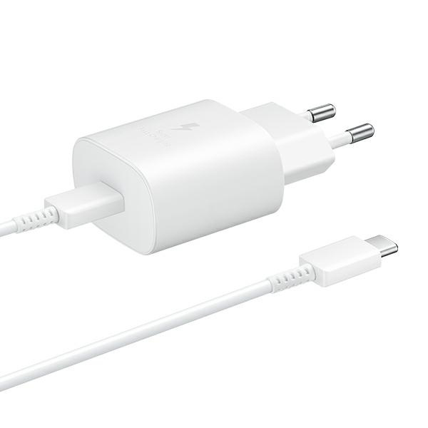 wall chargers - samsung wall charger ep-ta800xw pd 25w c + usb-c cable 1m white - 1 - krytarna.cz