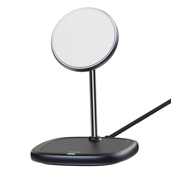 wireless chargers - baseus swan magsafe magnetic stand with wireless charger for iphone 12 (black) - 2 - krytarna.cz