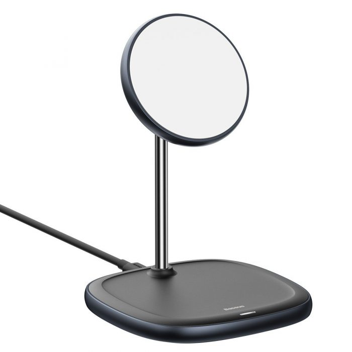 wireless chargers - baseus swan magsafe magnetic stand with wireless charger for iphone 12 (black) - 3 - krytarna.cz