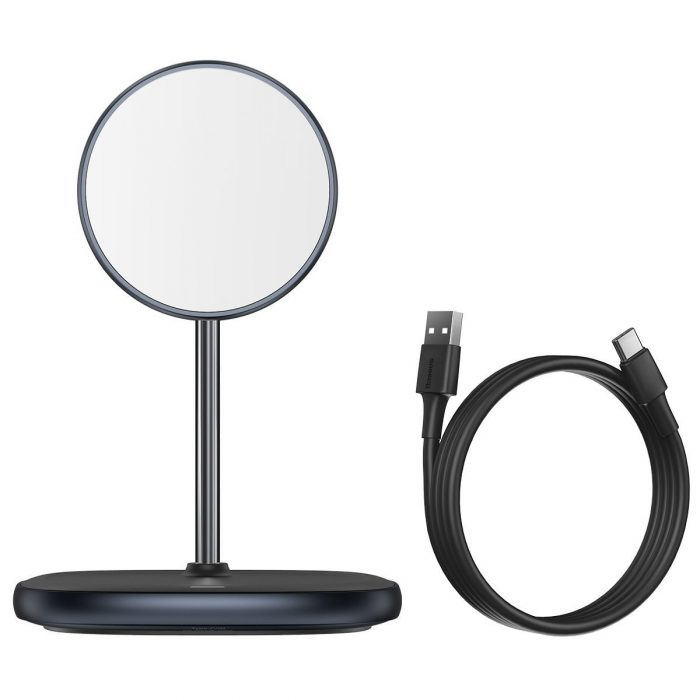 wireless chargers - baseus swan magsafe magnetic stand with wireless charger for iphone 12 (black) - 5 - krytarna.cz