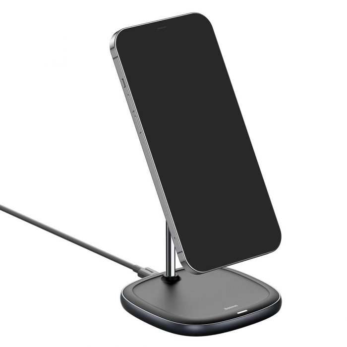 wireless chargers - baseus swan magsafe magnetic stand with wireless charger for iphone 12 (black) - 7 - krytarna.cz