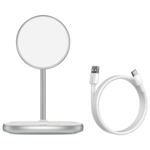 Wireless chargers - Baseus Swan MagSafe Magnetic Stand with Wireless Charger for iPhone 12 (white) - 2 - krytarna.cz