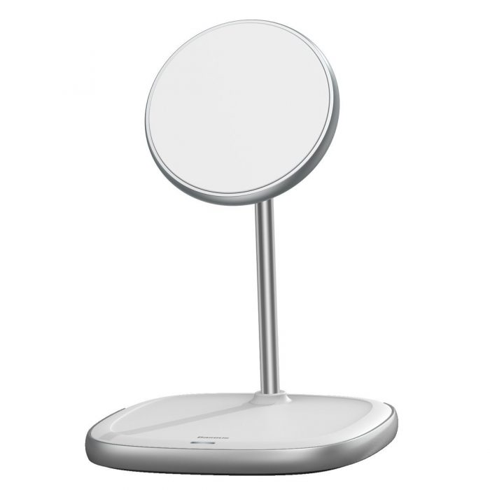wireless chargers - baseus swan magsafe magnetic stand with wireless charger for iphone 12 (white) - 3 - krytarna.cz