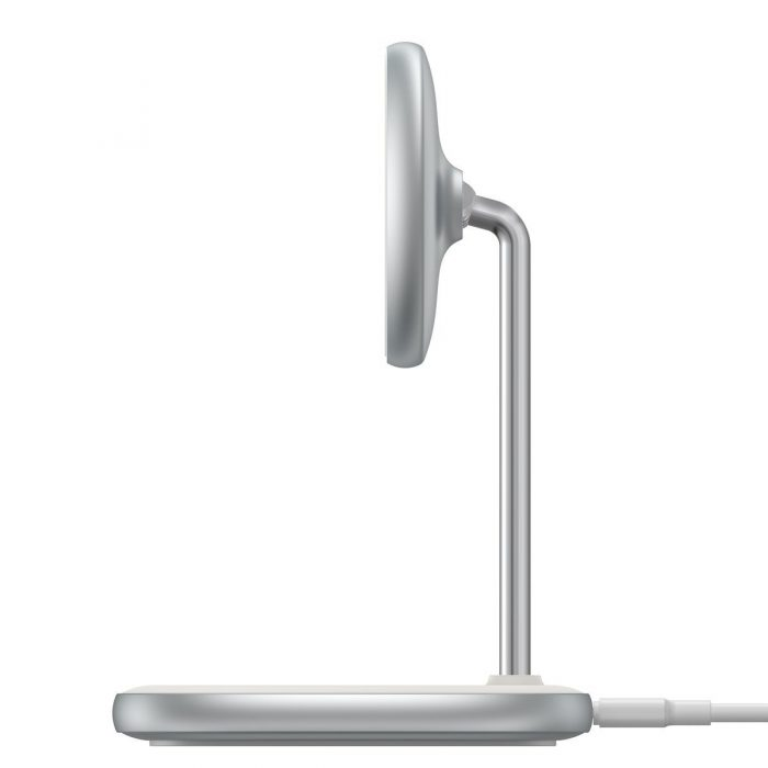 wireless chargers - baseus swan magsafe magnetic stand with wireless charger for iphone 12 (white) - 4 - krytarna.cz
