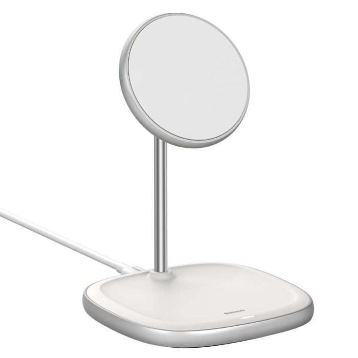 wireless chargers - baseus swan magsafe magnetic stand with wireless charger for iphone 12 (white) - 5 - krytarna.cz