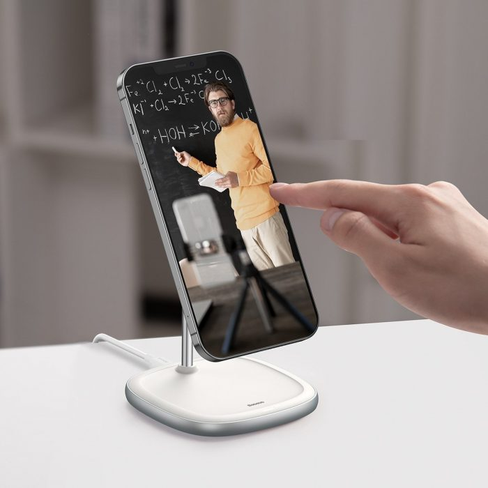 wireless chargers - baseus swan magsafe magnetic stand with wireless charger for iphone 12 (white) - 8 - krytarna.cz