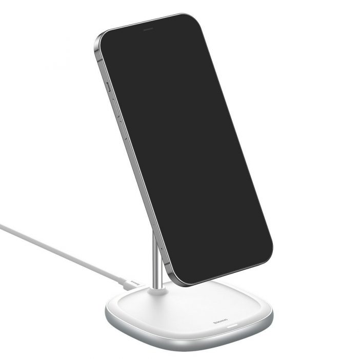wireless chargers - baseus swan magsafe magnetic stand with wireless charger for iphone 12 (white) - 9 - krytarna.cz