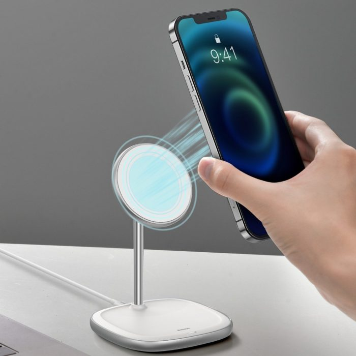 wireless chargers - baseus swan magsafe magnetic stand with wireless charger for iphone 12 (white) - 10 - krytarna.cz