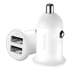 Car Chargers - Baseus Grain Pro Car Charger 2x USB 4.8A (white) - 1 - krytarna.cz