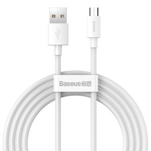 USB-A - microUSB - Baseus Simple Wisdom Data Cable Kit USB to Micro 2.1A (2PCS/Set) 1.5m White - 1 - krytarna.cz