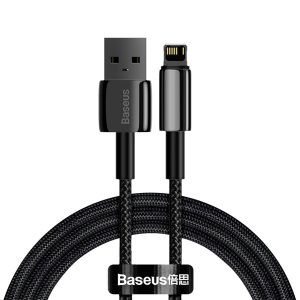 Lightning - USB-A - Baseus Tungsten Gold Cable USB Lightning 2.4A 1m (black) - 1 - krytarna.cz