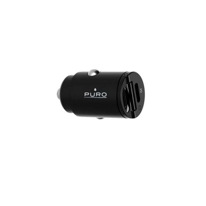 car chargers - puro mini car fast charger 2x usb-c power delivery 30w (black) - 3 - krytarna.cz
