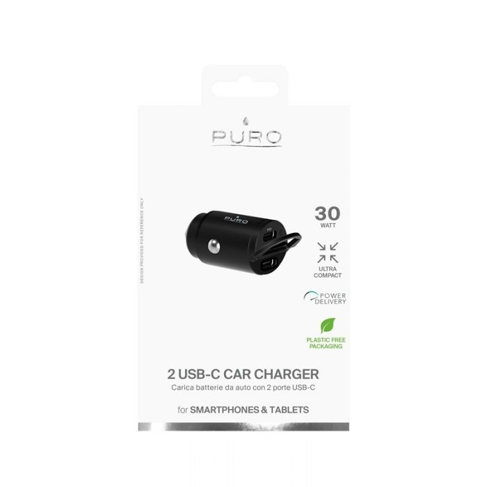 car chargers - puro mini car fast charger 2x usb-c power delivery 30w (black) - 5 - krytarna.cz